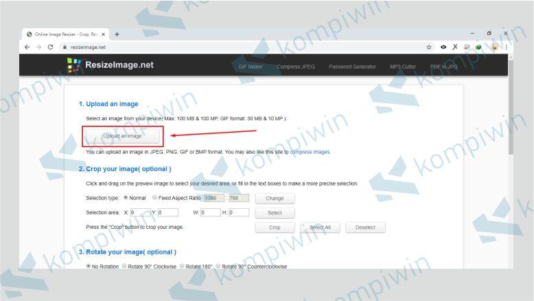 Upload File JPG ke ResizeImage