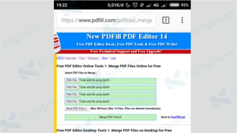 Upload File PDF yang akan Digabungkan dengan PDF Tools