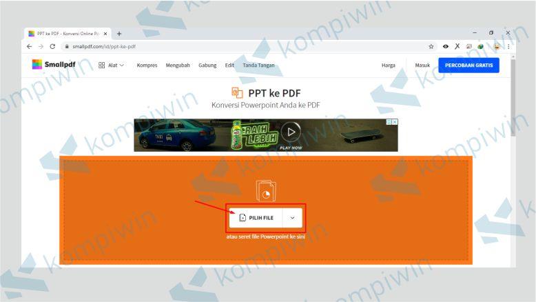 Upload File PPT yang Akan Diubah ke PDF