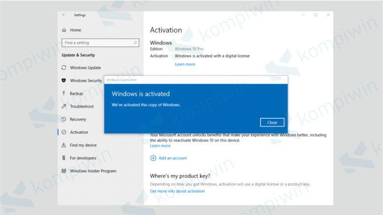 Windows is Activated berati Windows 10 Kalian sudah Teraktivasi