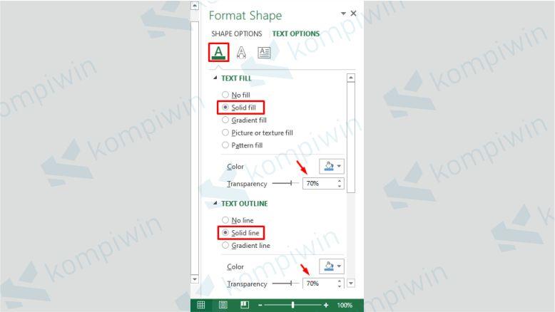 Atur Transparansi Watermark di Excel