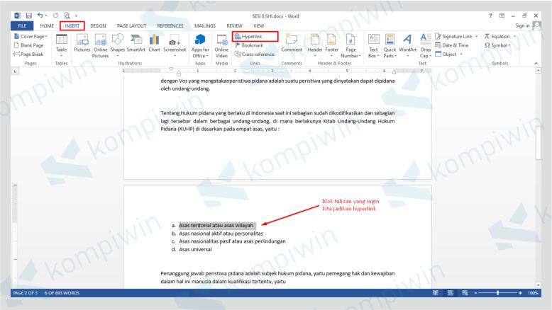 Blok Teks dan Pilih Tab Insert Lalu Klik Hyperlink