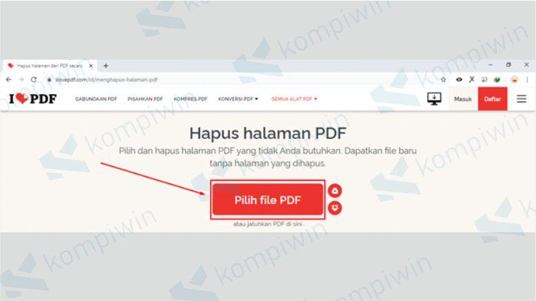 Cara Menghapus Halaman PDF dengan Small PDF - Upload File PDF di Small PDF