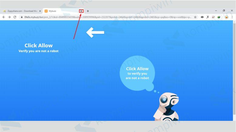 Close Tab Baru yang Muncul saat Download di Zippyshare