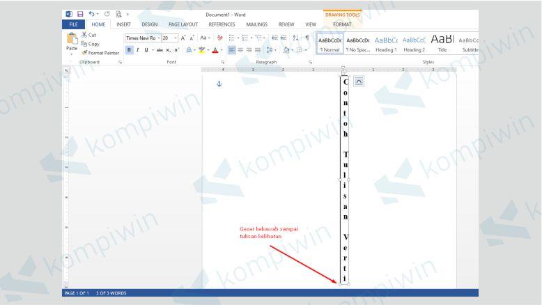 Geser Text Box Kebawah Sampai Tulisan Terlihat Semua