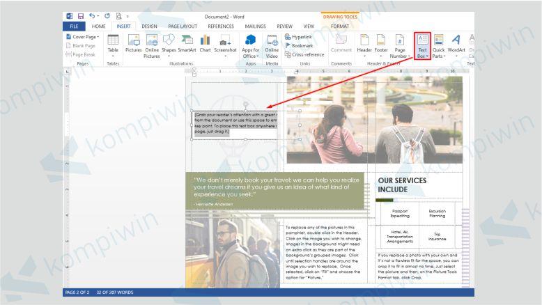 Gunakan Text Box untuk Menambahkan Teks di Brosur Word
