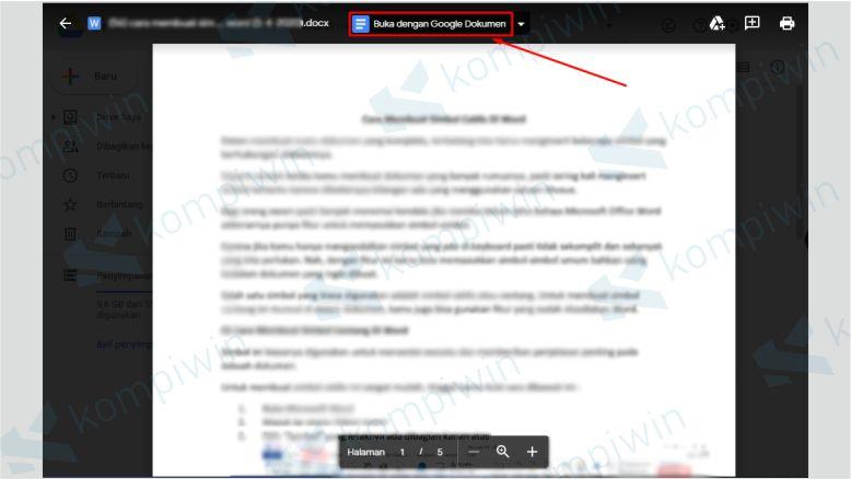 Klik Buka dengan Google Dokumen