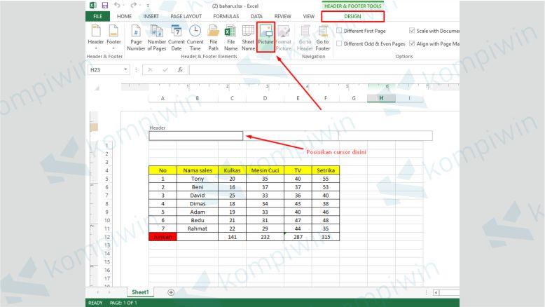 Klik Design Kemudian Pilih Picture dan Tambahkan Gambar yang Akan Dijadikan Watermark Excel