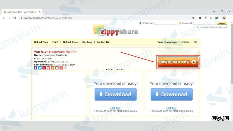 Klik Download Now untuk Memulai Proses Download Zippyshare