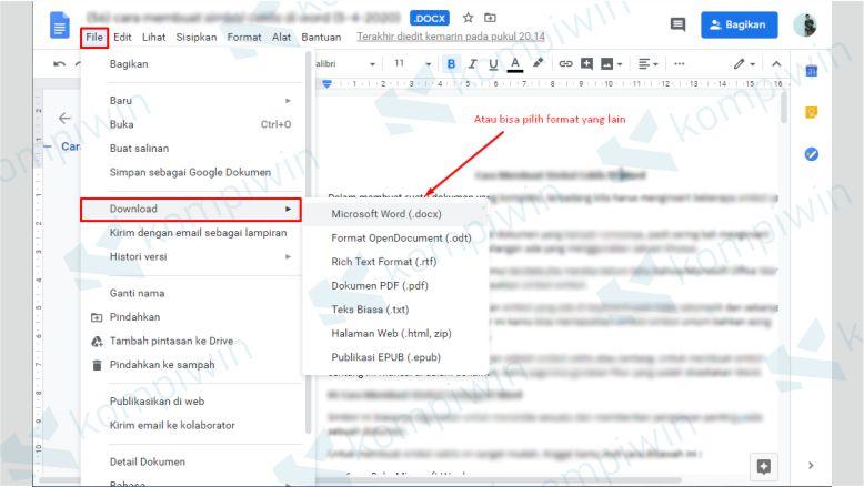 Klik File dan Pilih Download untuk Mengunduh Dokumen dari Google Drive