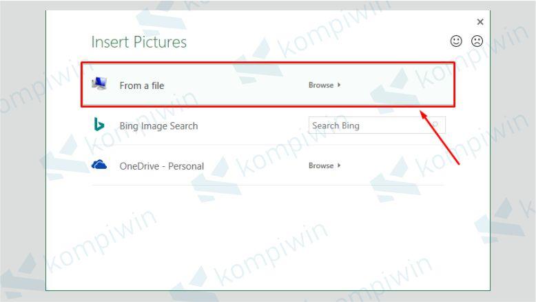 Klik From a File - Cara Menambahkan Watermark Excel