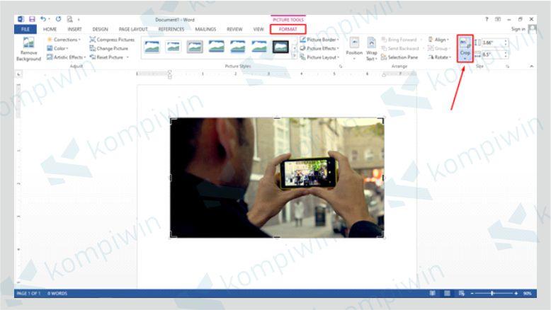 Klik Gambar yang Dicrop Kemudian Pilih Format dan Klik Menu Crop