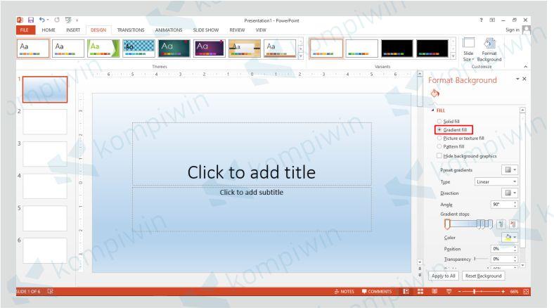 Klik Gradient Fill untuk Mengganti Background dengan Warna Gradient
