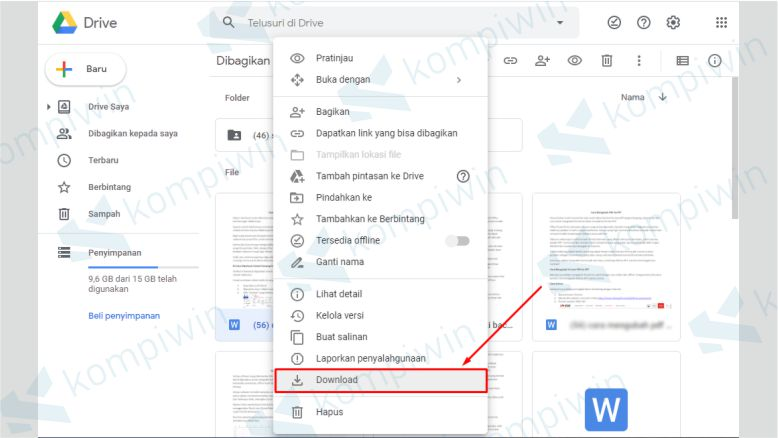 Klik Kanan pada File yang berada di Google Drive dan Pilih Download