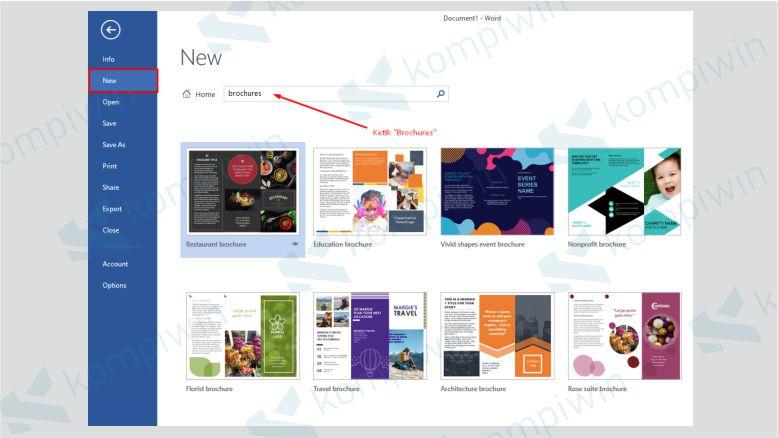 Klik New dan Cari Brochure