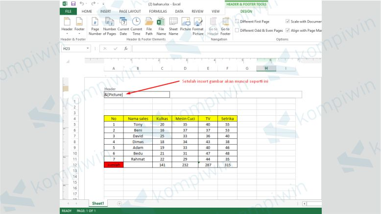 Klik &[Picture] untuk Menambahkan Watermark Excel