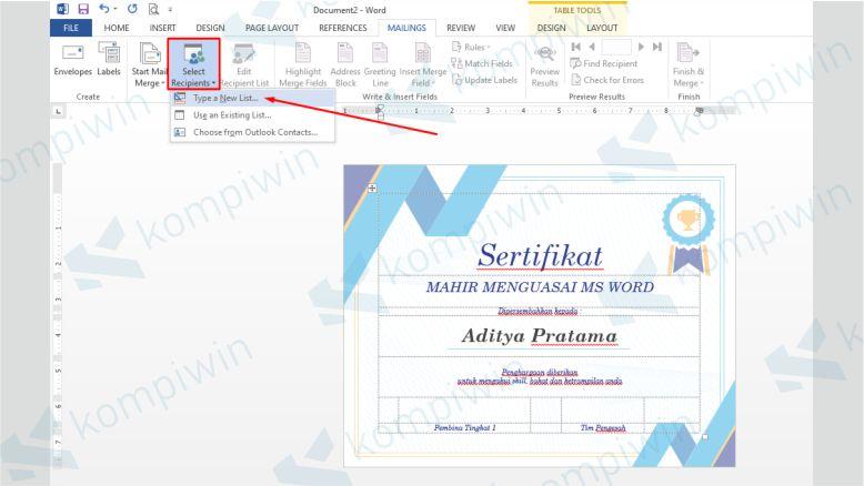 Klik Select Recipients untuk Mengganti Nama Penerima Sertifikat