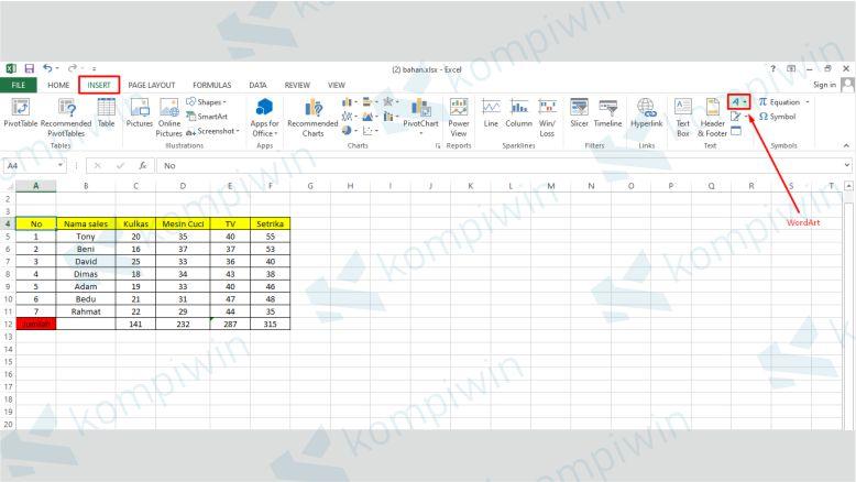 Klik WordArt di Excel untuk Menambahkan Watermark