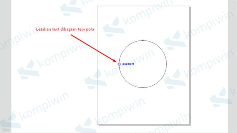 Letakkan Tulisan di Tepi Lingkaran yang Sudah Dibuat