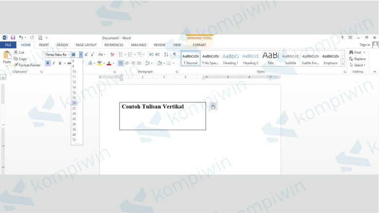 Menuliskan Tulisan ke dalam Text Box untuk Dibuat Menjadi Vertikal