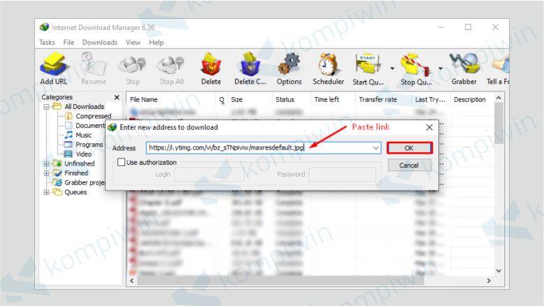Paste Link Download Bermasalah pada Kotak Dialog
