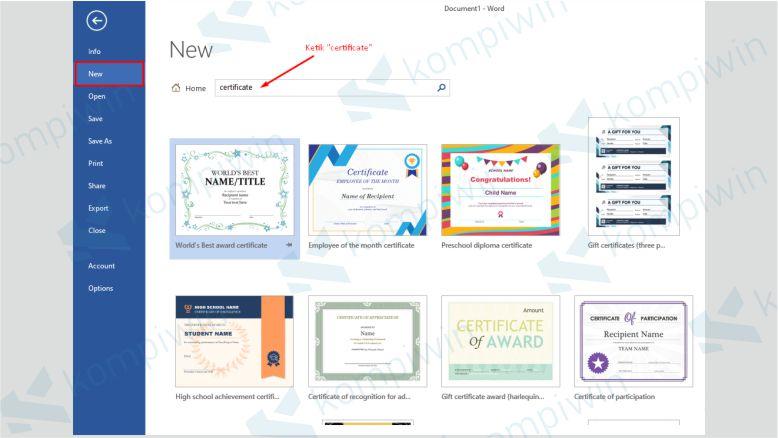 Pilih Template Certificate yang Disediakan oleh Word