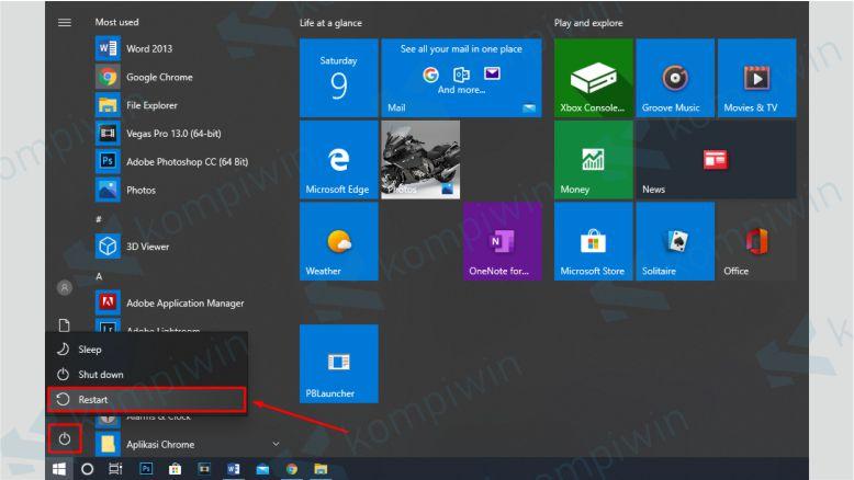 Restart Laptop untuk Membersihkan RAM