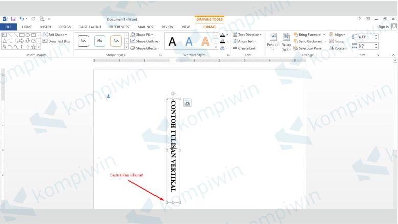 Sesuaikan Ukuran Text Box dengan Tulisan Vertikal