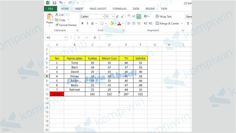 Watermark di Excel Selesai Dibuat