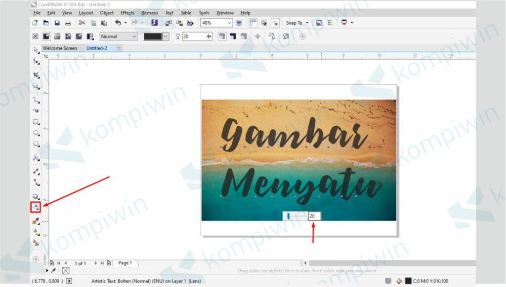 Atur Settingan Transparency Tool - Cara Membuat Gambar Menyatu dengan Background di CorelDraw