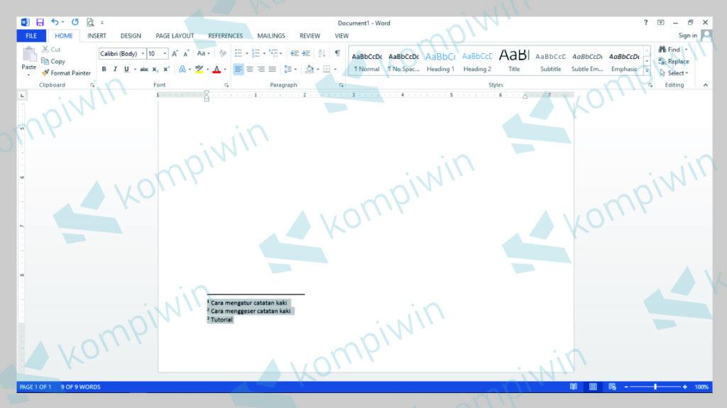 Blok Footnote di Dokumen Word Kamu - Kompiwin