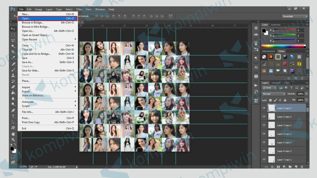 Buka Foto Utama yang Dijadikan Background Mozaik - Kompiwin