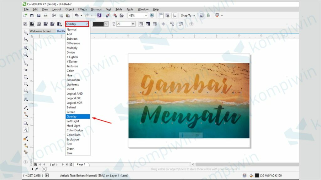 Cari Overlay - Cara Menyatukan Gambar dengan Background di CorelDraw