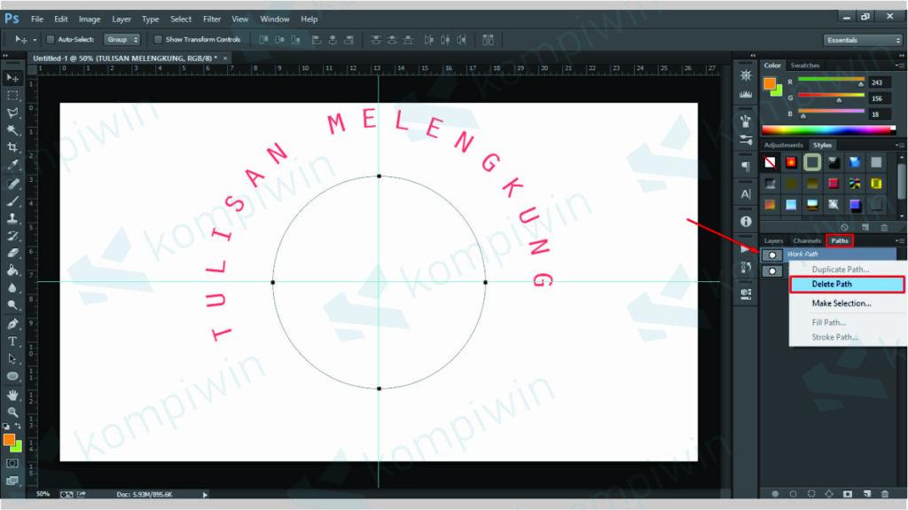 Delete Path untuk Menghilangkan Path Lingkaran - Cara Membuat Teks Melengkung di Photoshop