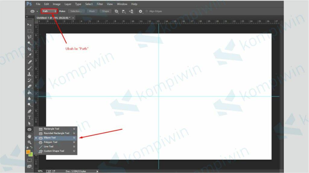 Gunakan Ellipse Tool - Cara Membuat Tulisan Melengkung Photoshop