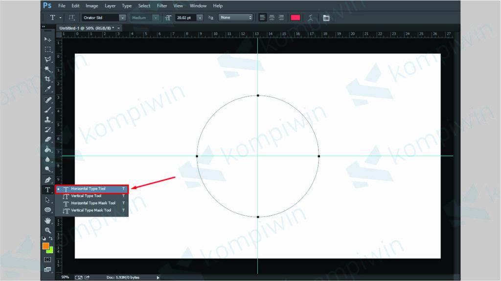 Gunakan Horizontal Type Tool