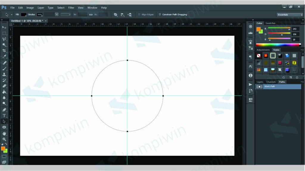 Gunakan SHIFT untuk Membuat Bentuk Bulat Sempurna - Cara Membuat Tulisan Melengkung Photoshop