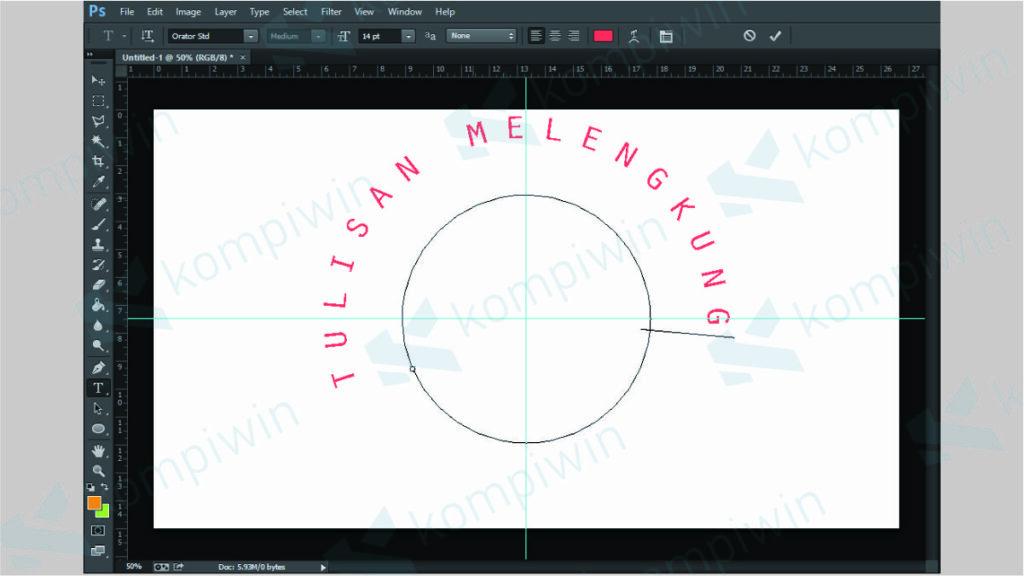 Ketikkan Teks yang Ingin Dibuat Melengkung di Photoshop