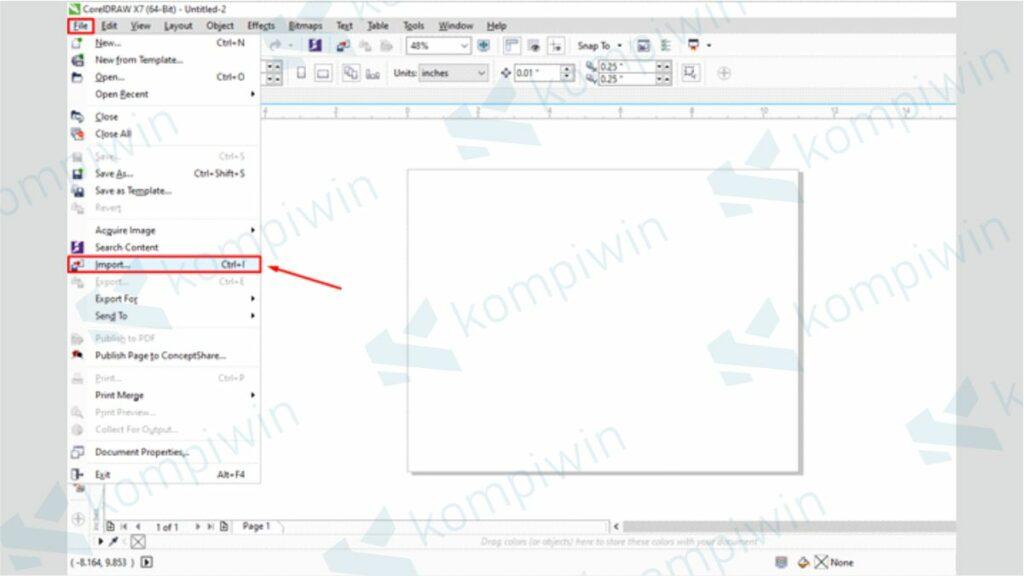 Klik File Lalu Pilih Menu Import - Cara Menyatukan Gambar dan Background di CorelDraw