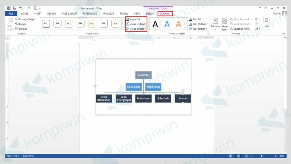 Klik Format untuk Mengubah Desain Struktur Organisasi - Cara Membuat Struktur Organisasi Word