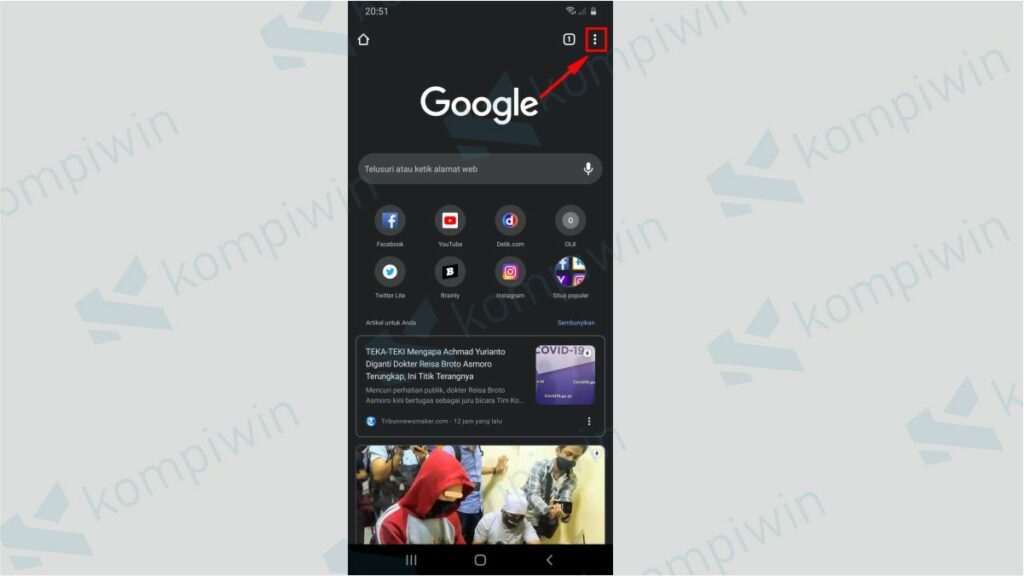 Klik Ikon Titik Tiga Chrome di Ponsel - Cara Mematikan Notifikasi Google Chrome di Ponsel