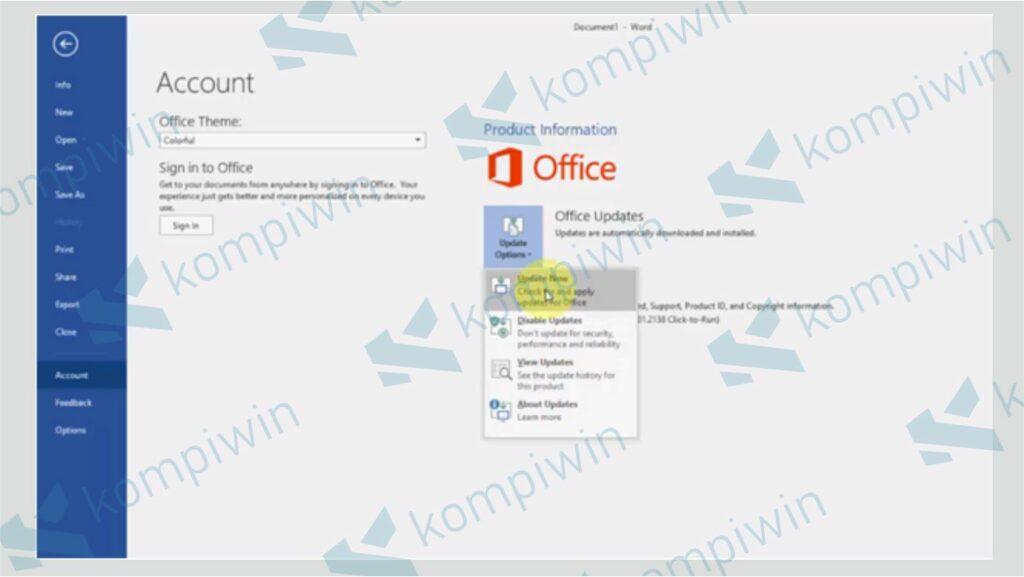 Klik Menu Account dan Pilih Update Now - Cara Update Office 2013 dan 2016