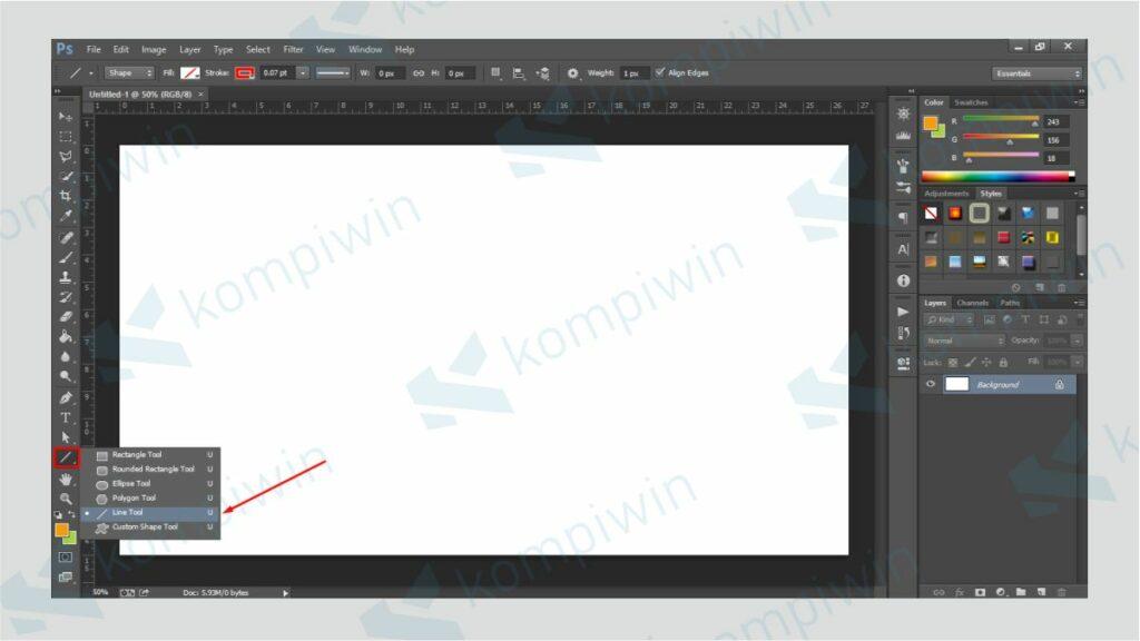Klik Menu Line Tool - Cara Membuat Garis di Photoshop dengan Line Tool