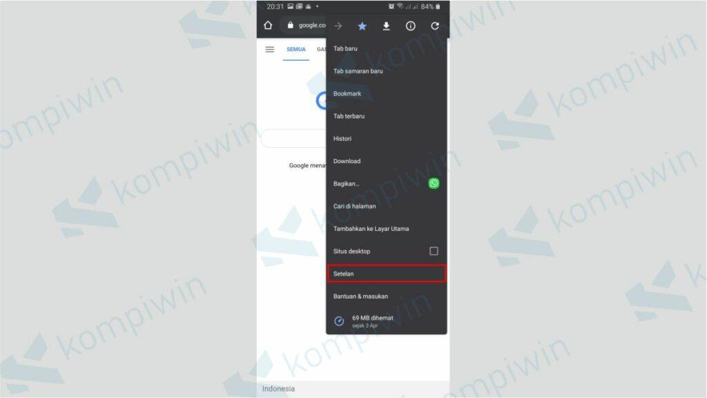 Klik Menu Setelan pada Chrome di Smartphone