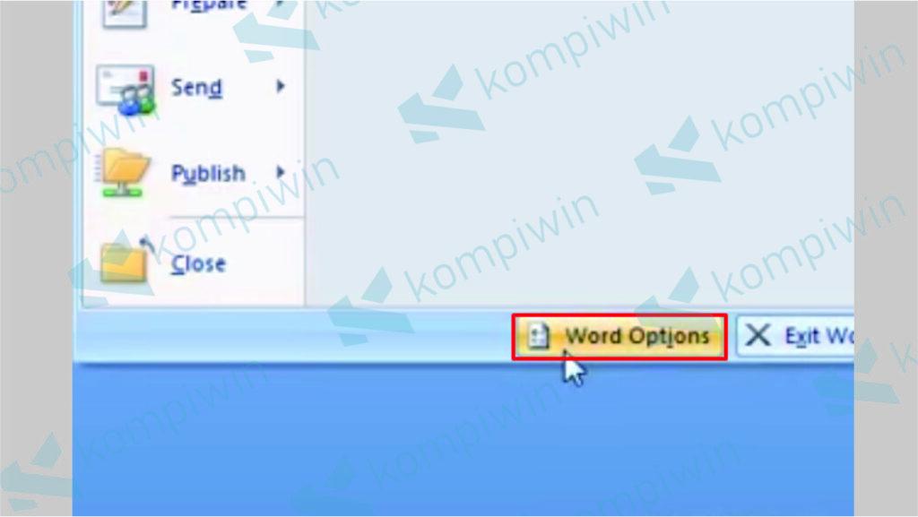 Klik Menu Word Option - Cara Update Word 2007 ke Versi Terbaru