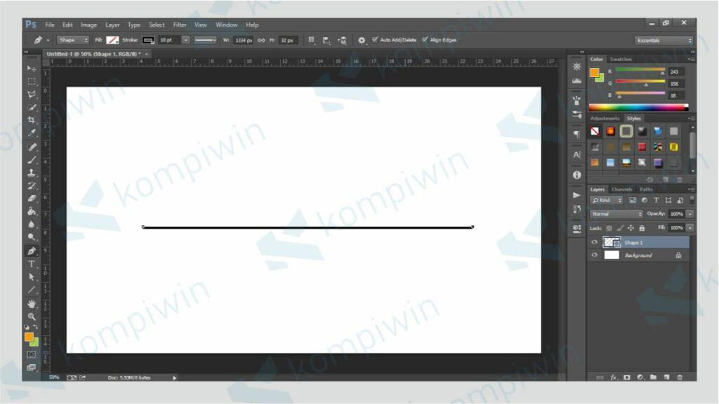 Letakkan Point Kedua - Cara Membuat Garis di Photoshop