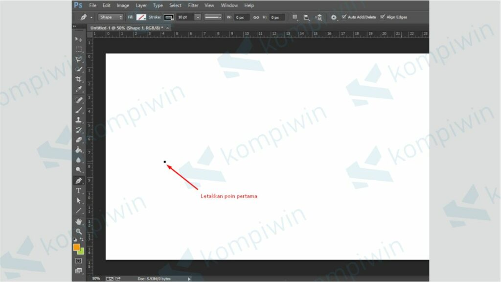 Letakkan Point Pertama - Membuat Garis di Photoshop dengan Pen Tool