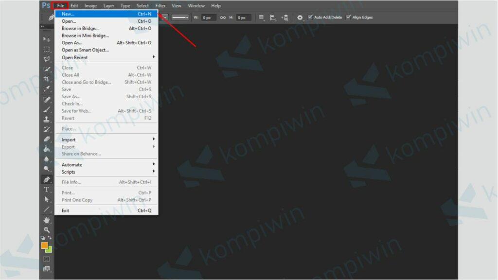 Membuat Dokumen Baru di Photoshop - Cara Membuat Garis di Photoshop