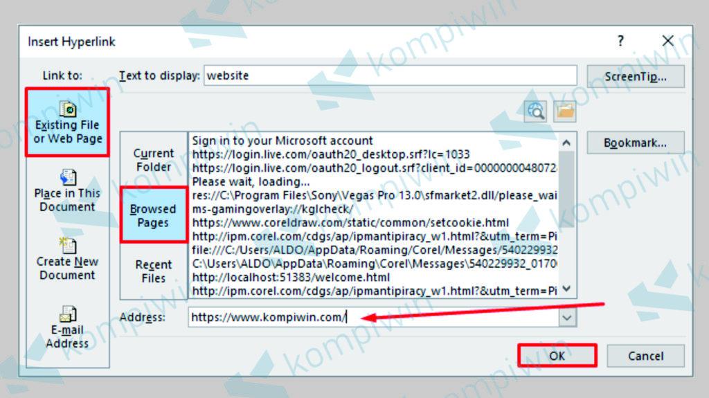 Pilih Existing File or Web Page dan Masukkan Link Website - Cara Membuat Link Website Otomatis di PowerPoint