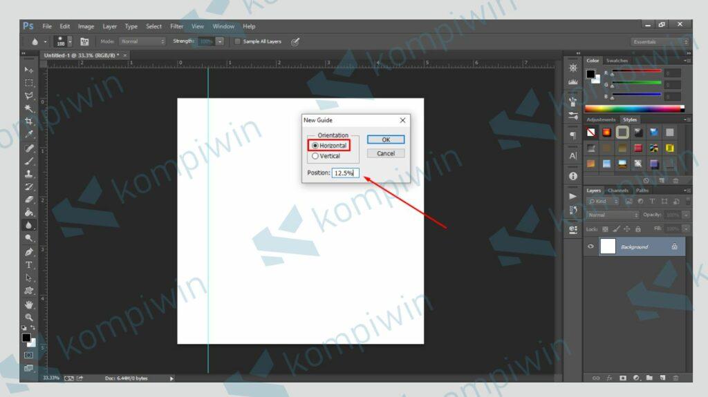 Pilih Horizontal dan Isi Position Sama Saat Membuat Guide Vertical - Kompiwin